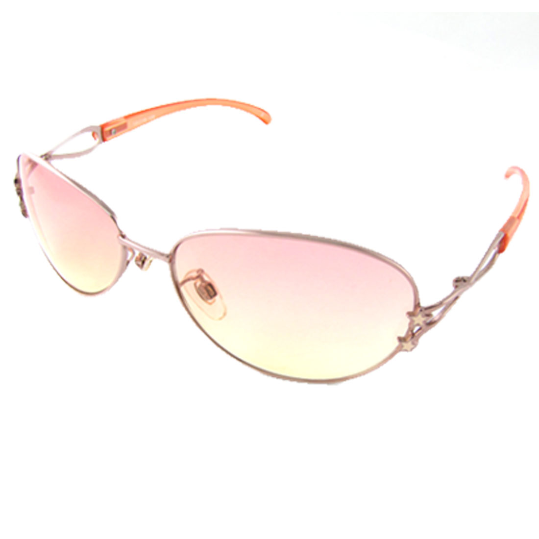 UV Protection Metal Full Rim Oval Lens Slim Arms Sunglasses for Ladies
