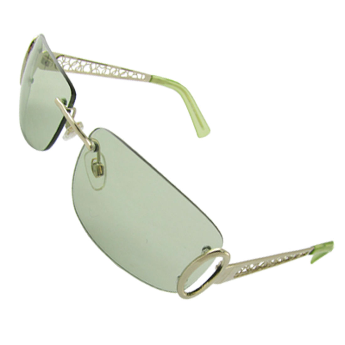 Unisex UV Protection Rectangle Mirrored Lens Rimless Sunglasses Clear Green