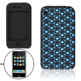 Black Light Blue Soft Silicone Skin Case Cover for iPhone 3G 3GS
