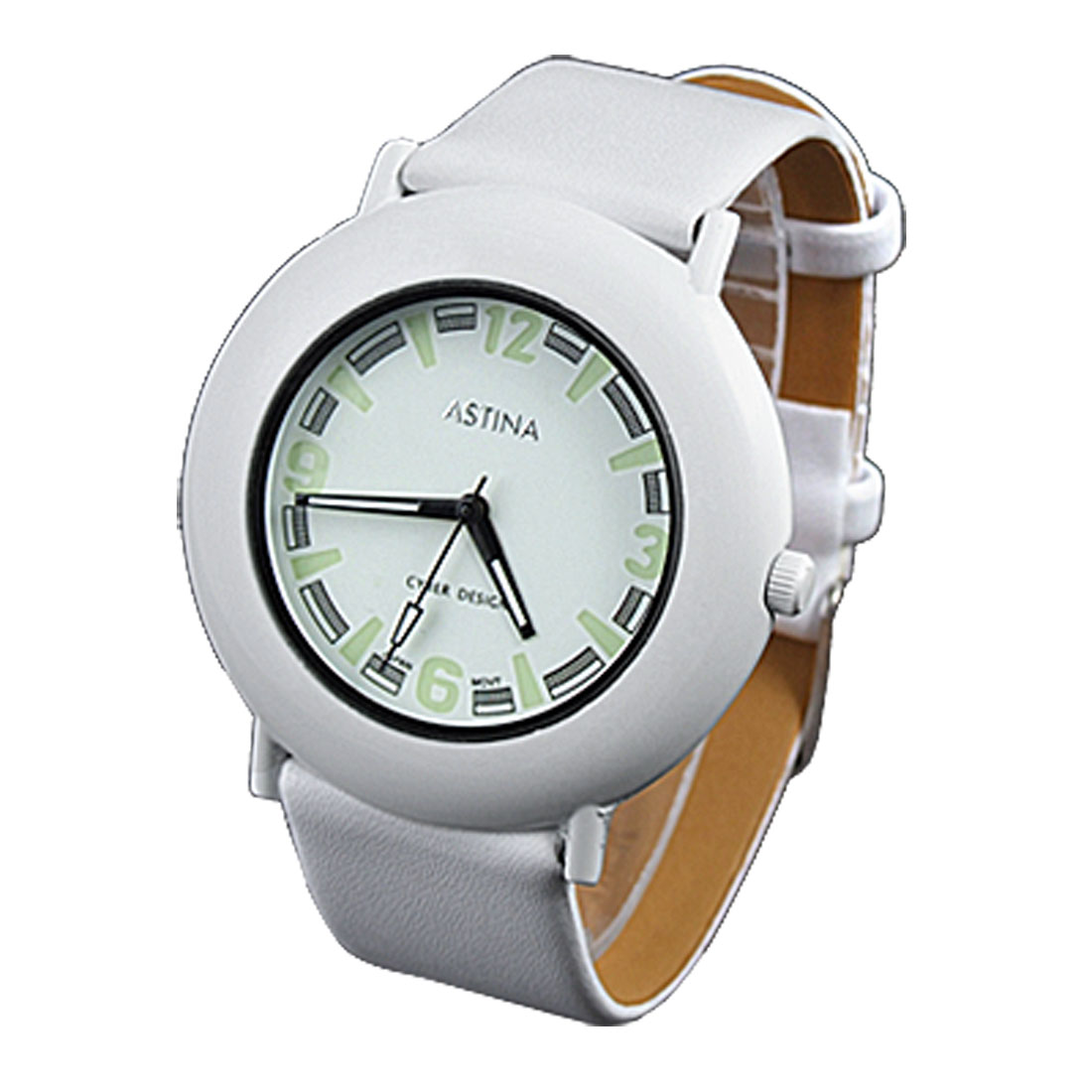 Unisex White Faux Leather Band Round Dial Quartz Watch
