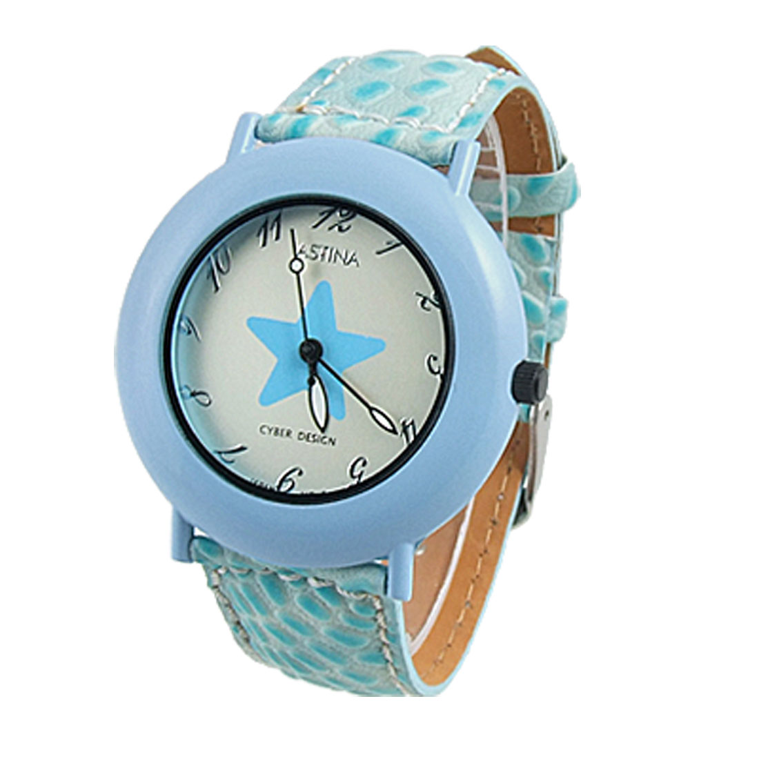 Ladies Gecko Print Band Round Star Dial Quartz Watch