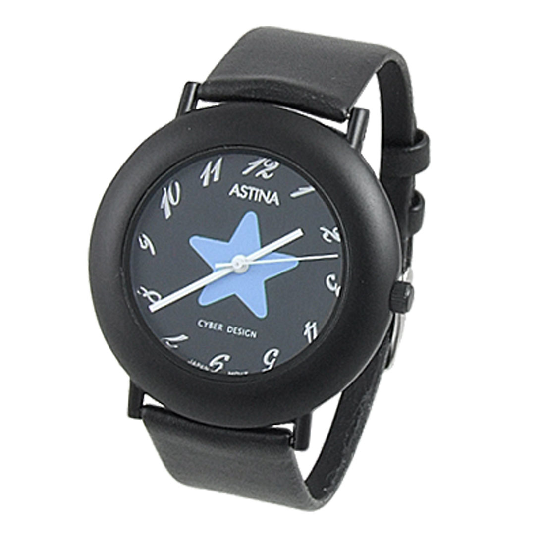 Ladies Black Perforated Band Round Star Dial Watch