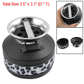 Gray Leopard Pattern Desk Cigarette Metal Ashtray Black