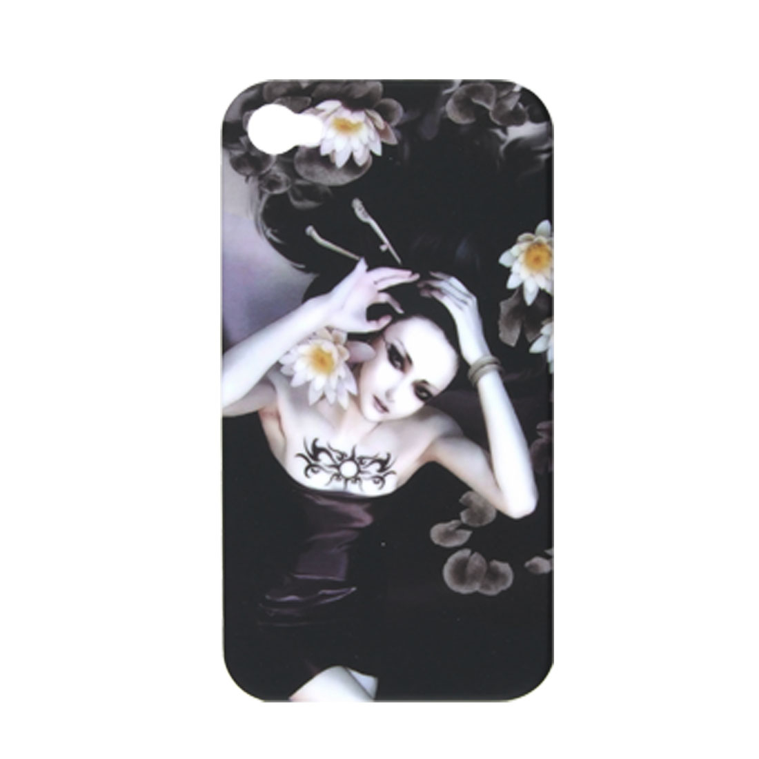 Peony Tattoo Girl Hard Plastic Rubberized Cover for iPhone 4 4G