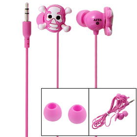 MP3 MP4 3.5mm in Ear Skull Headphone Audio Earphone Pink