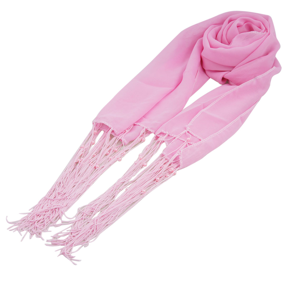Pink Beaded Fringes Rectangular Chiffon Scarf for Ladies