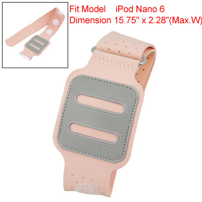 Pink PVC Faux Leather Hook and Loop Fastener Armband Strap for iPod Nano 6
