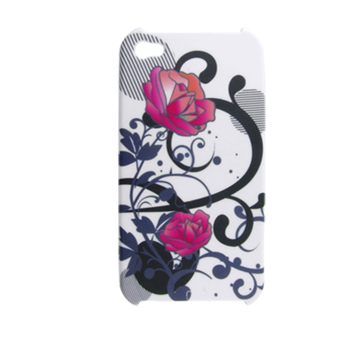 Red Flower White Hard Plastic Case Back Cover for iPhone 4 4G