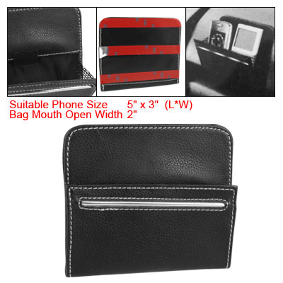 Auto Car Black Faux Leather Phone MP3 Pouch Holder Storage Pocket