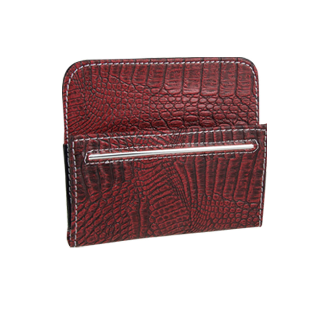 Burgundy Crocodile Print Hook and Loop Fastener Closure Phone MP3 Pouch Holder for Car