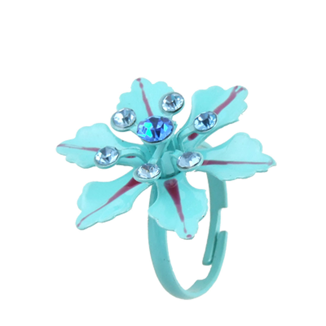 Slim Band Round Cut Ladies Rhinestone Flower Ring Baby Blue US 6 3/4
