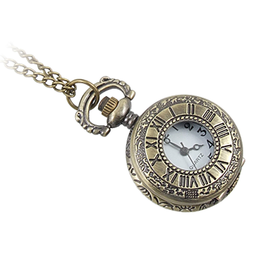 "Bronze Tone Embossed Necklace Pocket Quartz Watch 15.5"" for Lady"