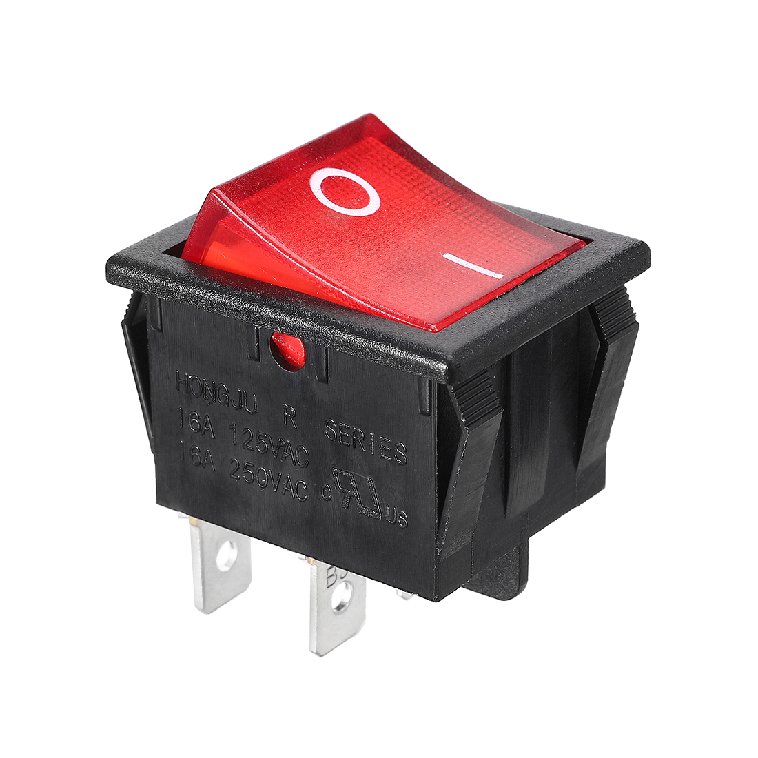 Red Light Illuminated DPST ON/OFF Snap In Rocker Switch 16A 250V AC