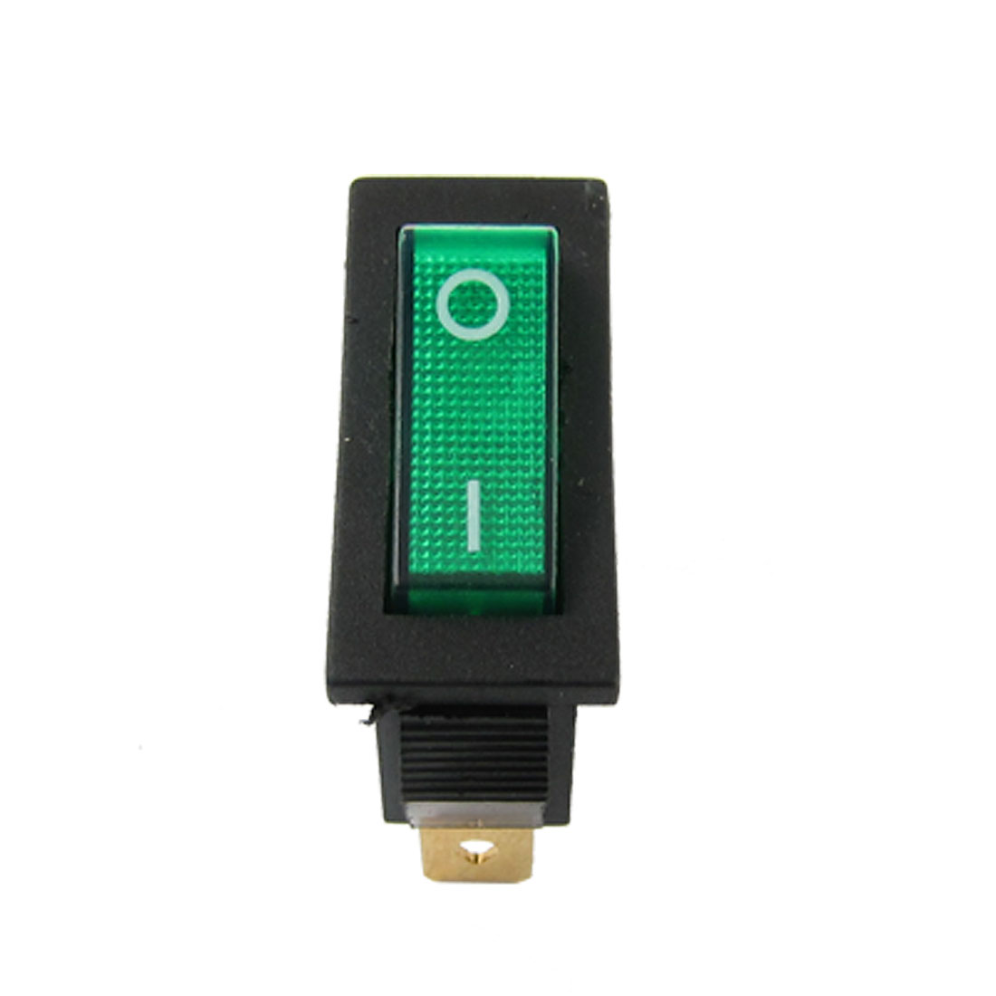 AC 16A/250V Green Light Illuminated ON-OFF 2 Position SPST Snap in Rocker Switch