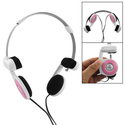 Sponge Ear Cushion Folding Headphone 3.5mm Earphone Pink White