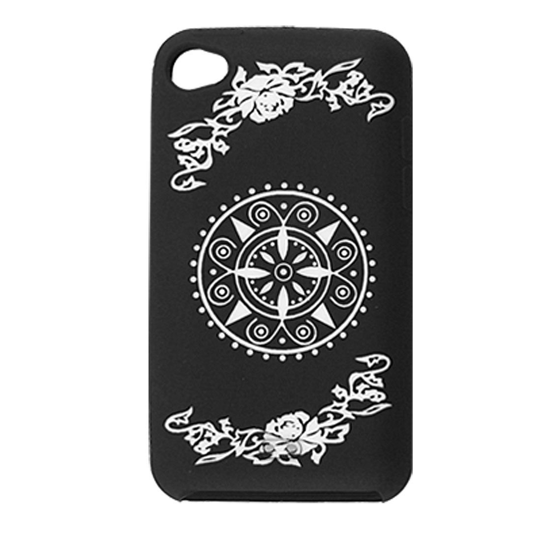 Flower Silicone Protective Case Cover Black for iPod Touch 4G
