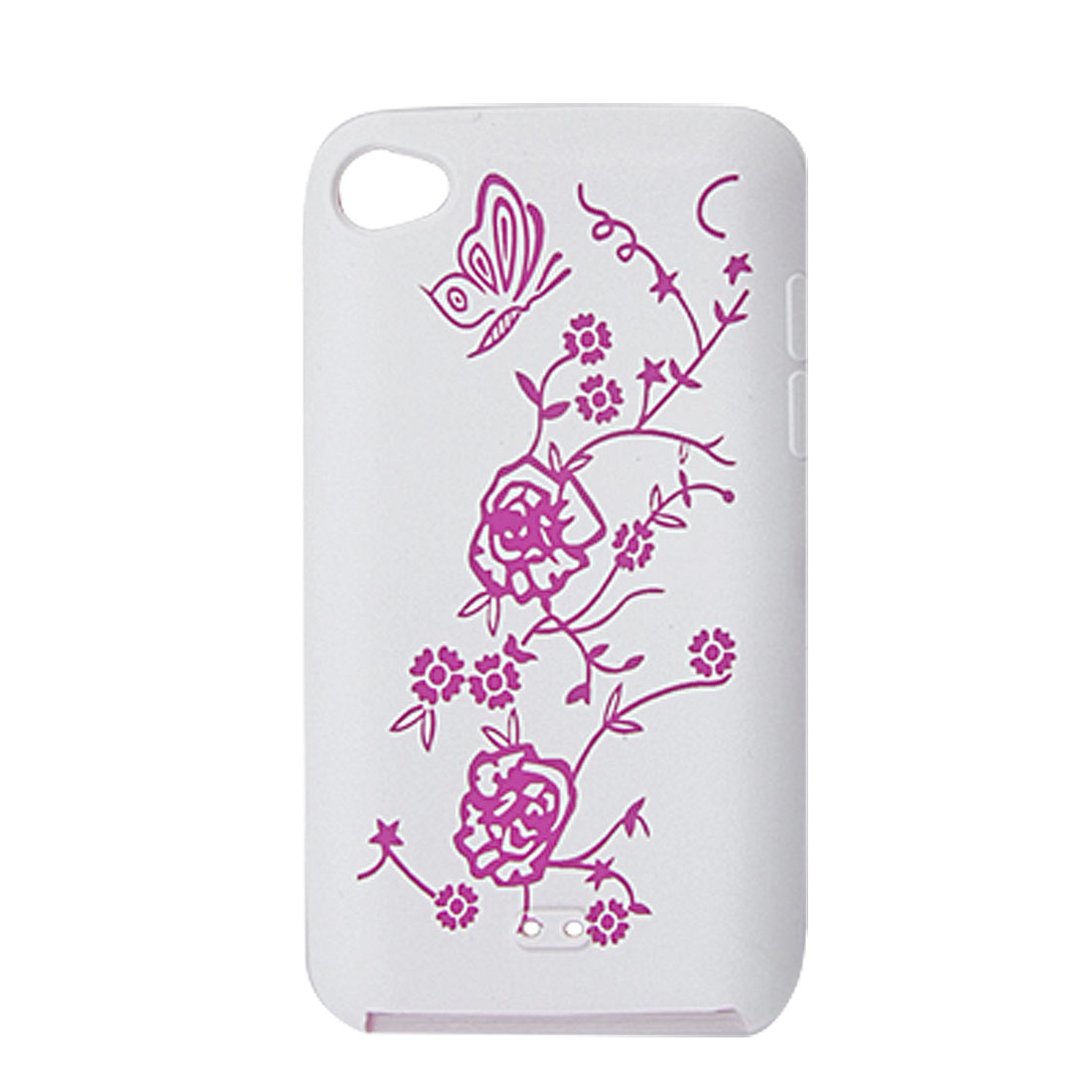 Butterfly Floral Silicone Case Fuchsia White for iPod Touch 4G