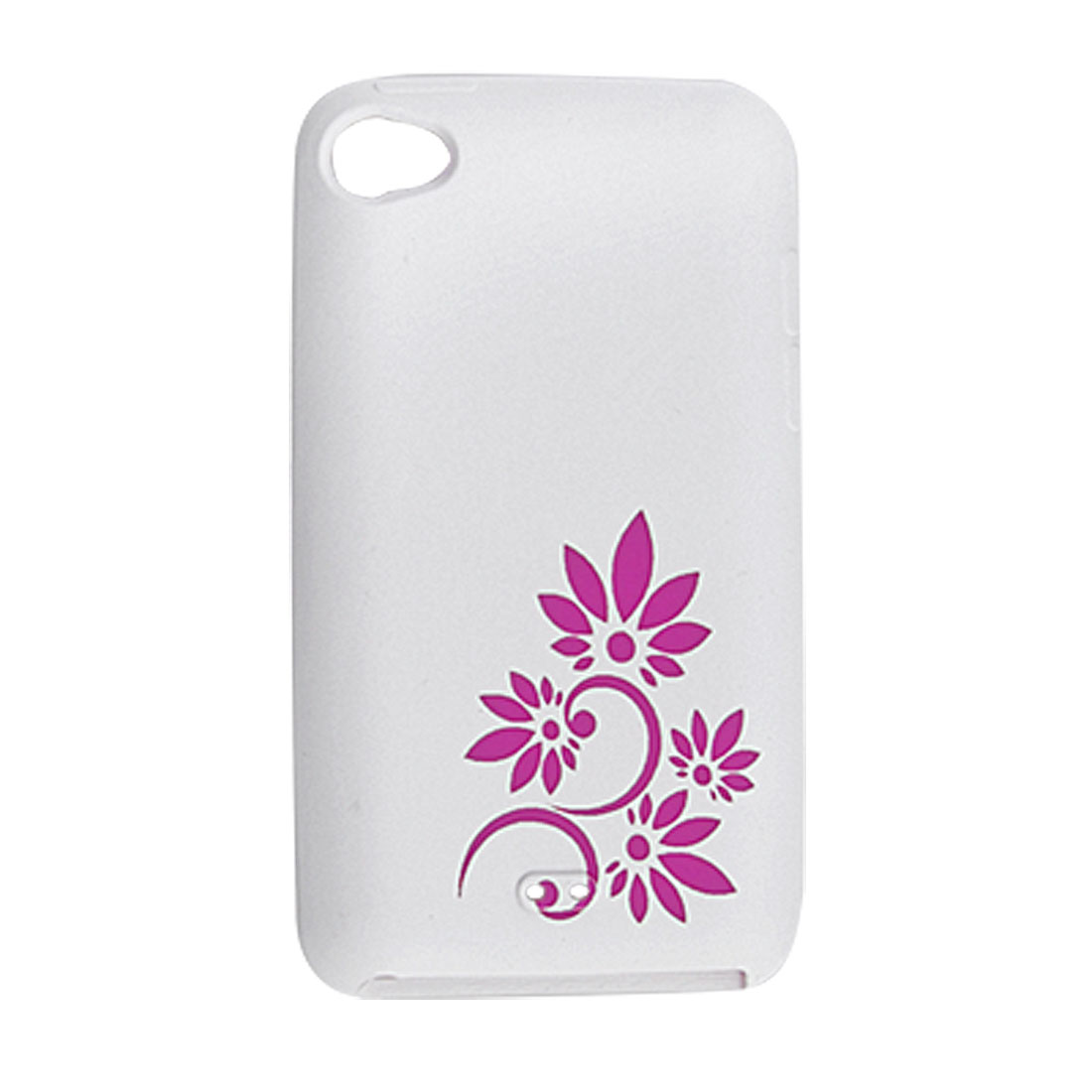 Fuchsia Flower Silicone Skin Case White for iPod Touch 4G