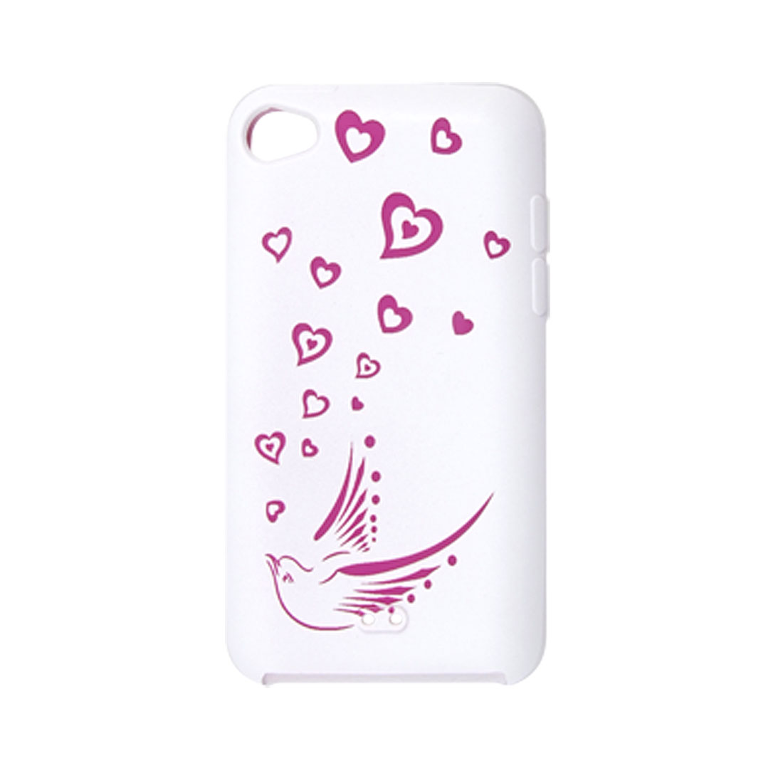 Heart Bird Print White Silicone Skin Case for iPod Touch 4G