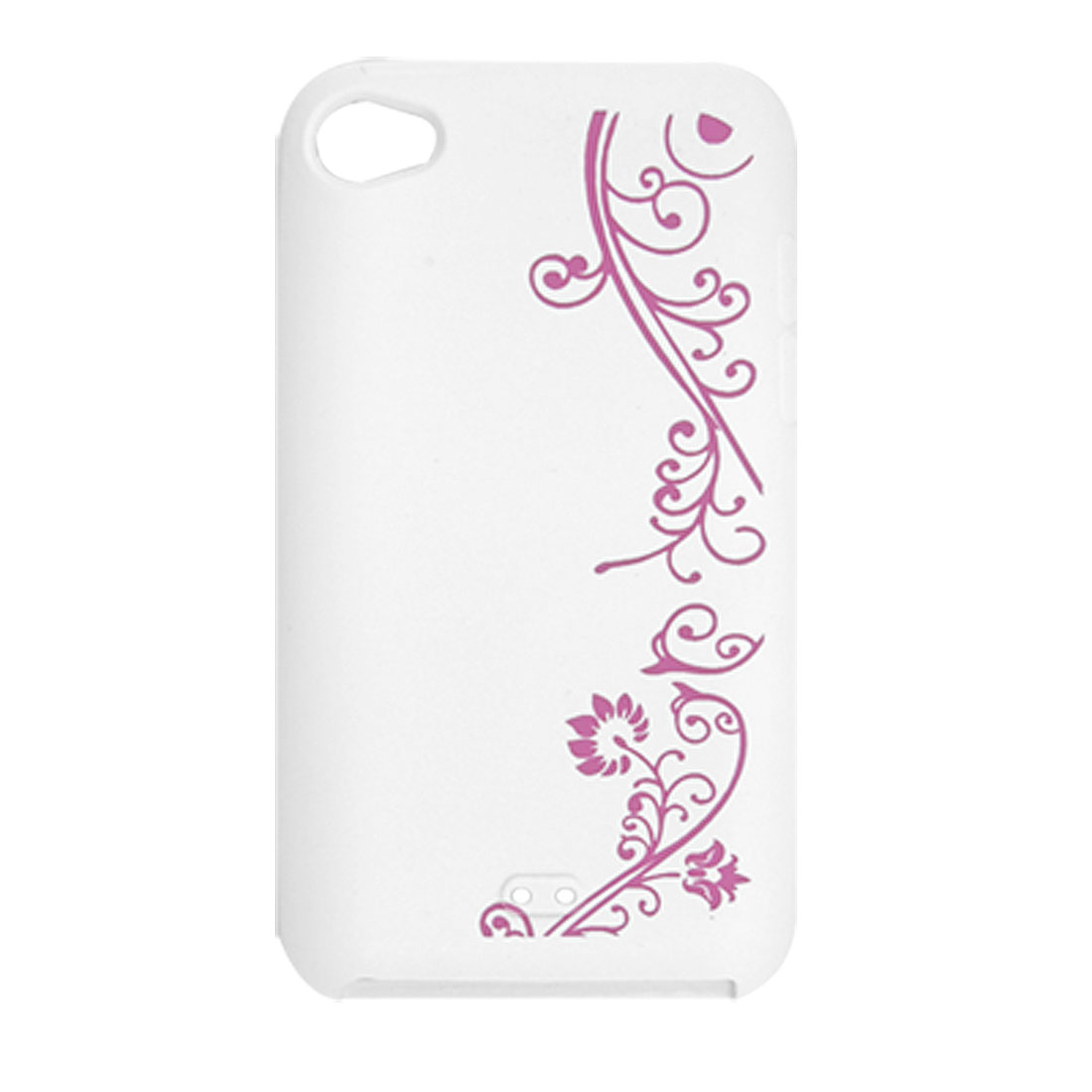 Soft Silicone Floral Pattern Fuchsia White Skin for iPod Touch 4G
