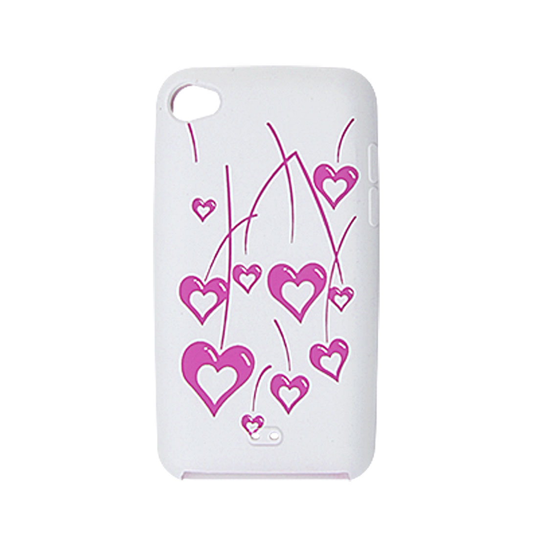 Soft Silicone Heart Skin Fuchsia White Case for iPod Touch 4G