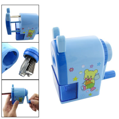 Bear Print Blue Manual Rotating School Pencil Sharpener