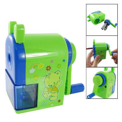 Bear Pattern Green Blue Plastic Manual Pencil Sharpener