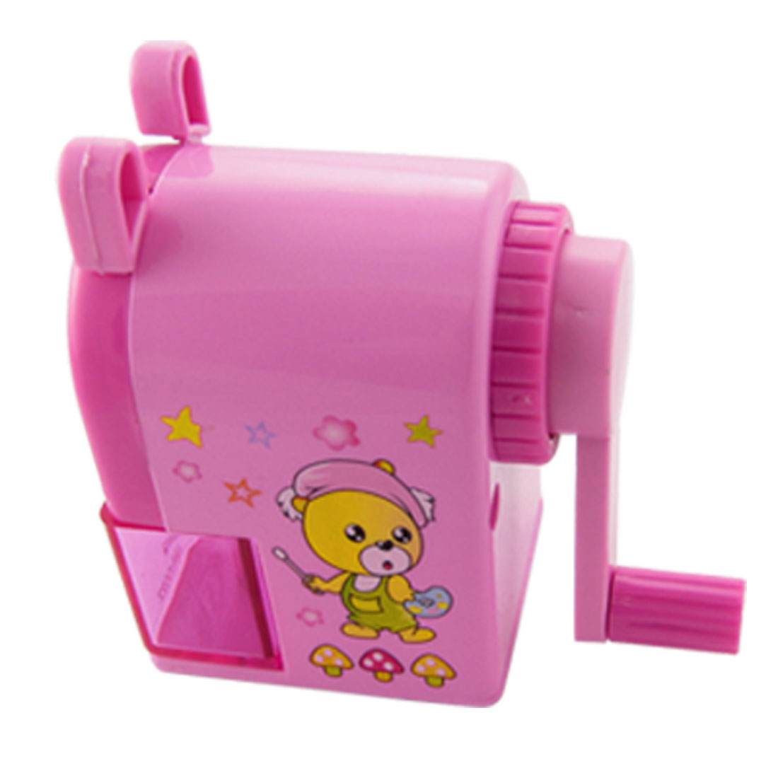 Pink Plastic Cartoon Bear Print Manual Pencil Sharpener
