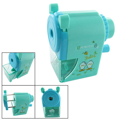 Chick Print Turquoise Cyan Hand Manual Pencil Sharpener