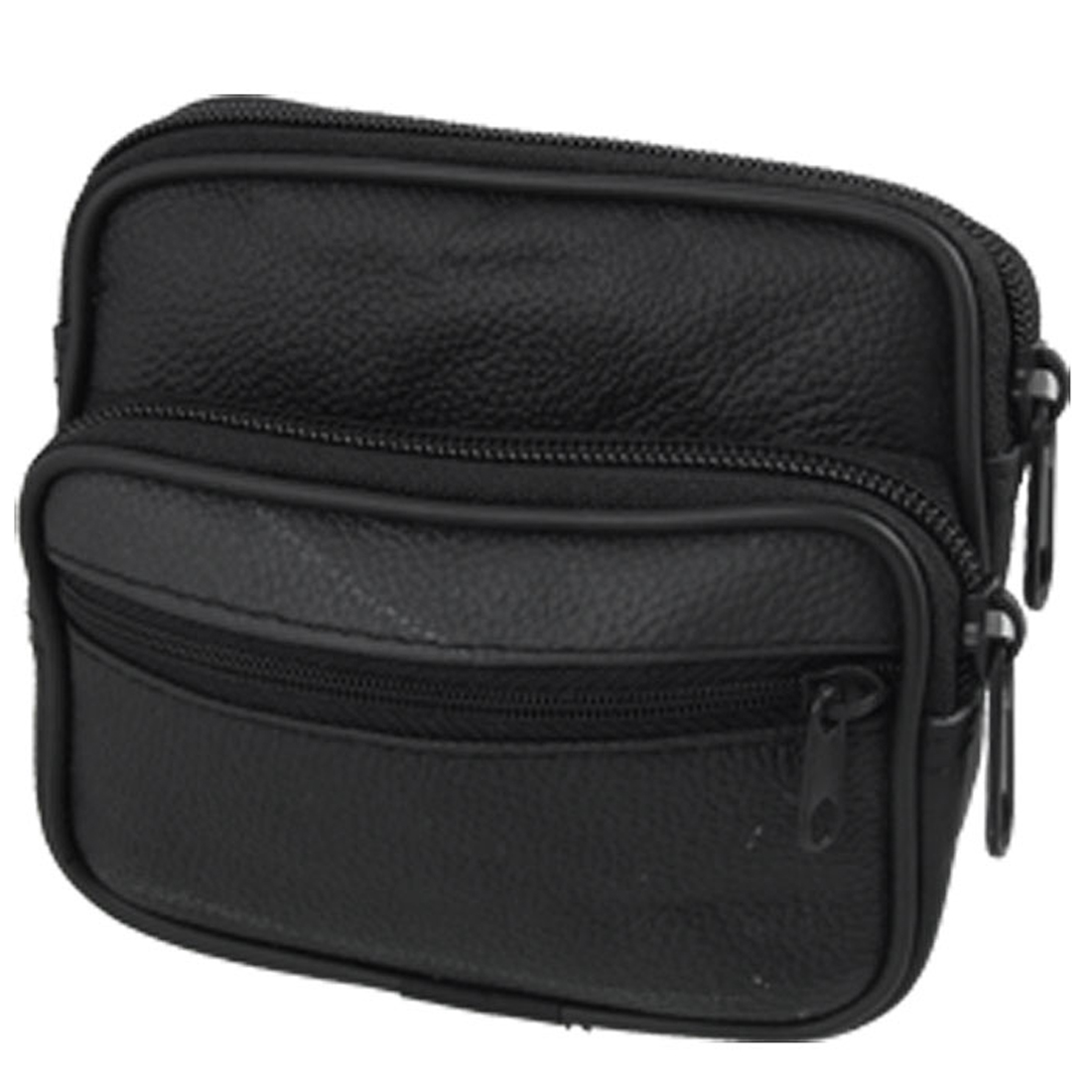 Digital Camera Cell Phone Faux Leather Waist Belt Bag Black