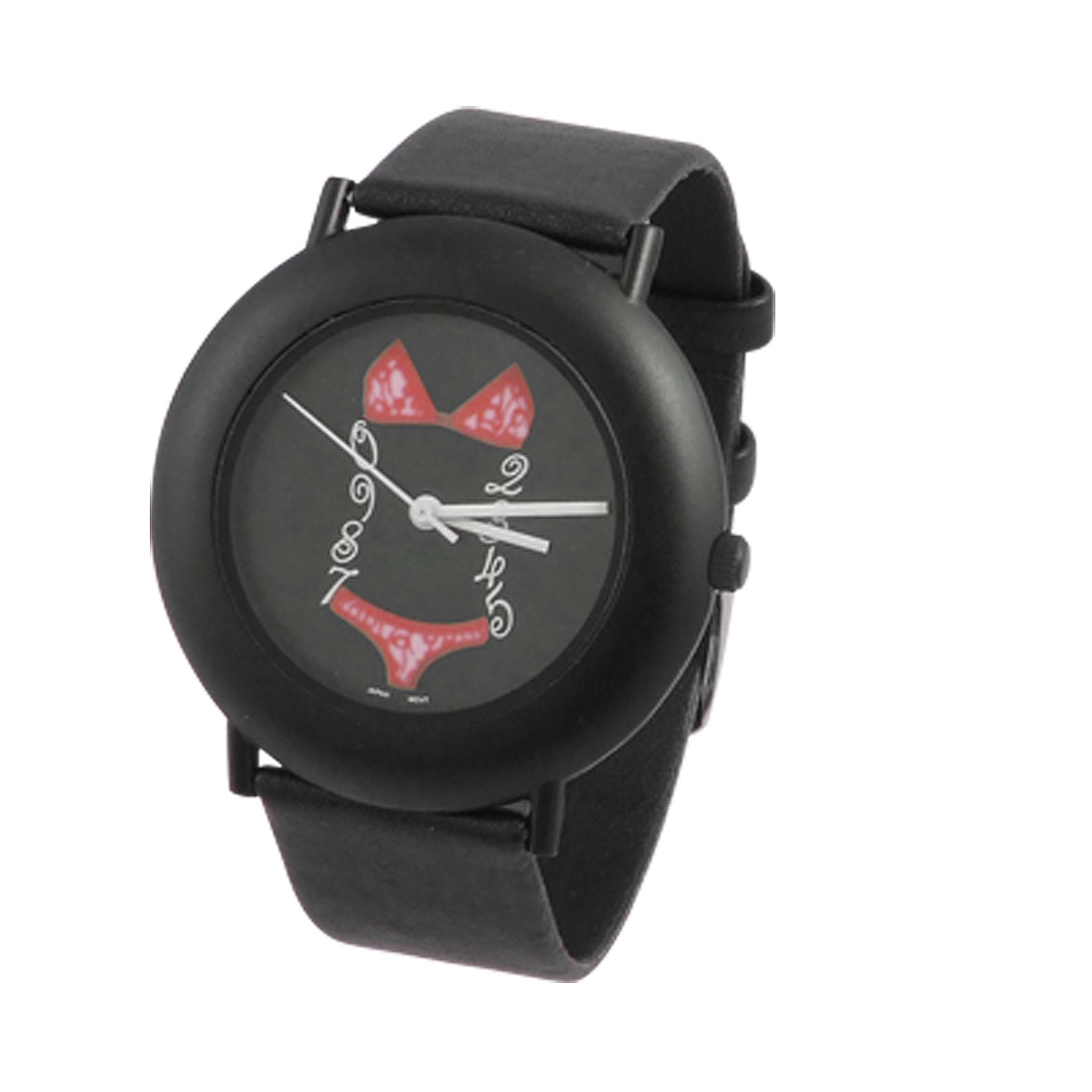 Ladies Fluorescent Bikini Print Dial Wrist Watch Black