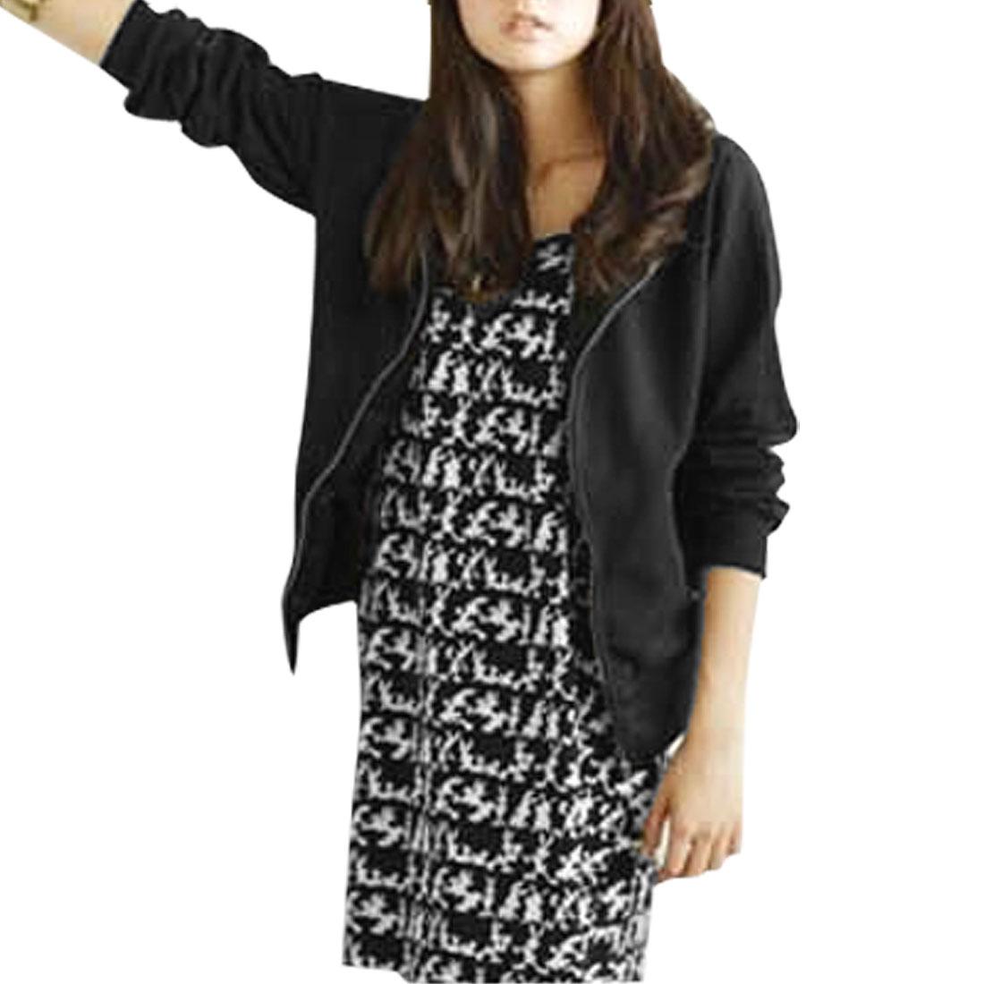 Ladies Full Zipper Slant Pockets Ribbed Cuffs Hoodie Sweatshirt Black XS