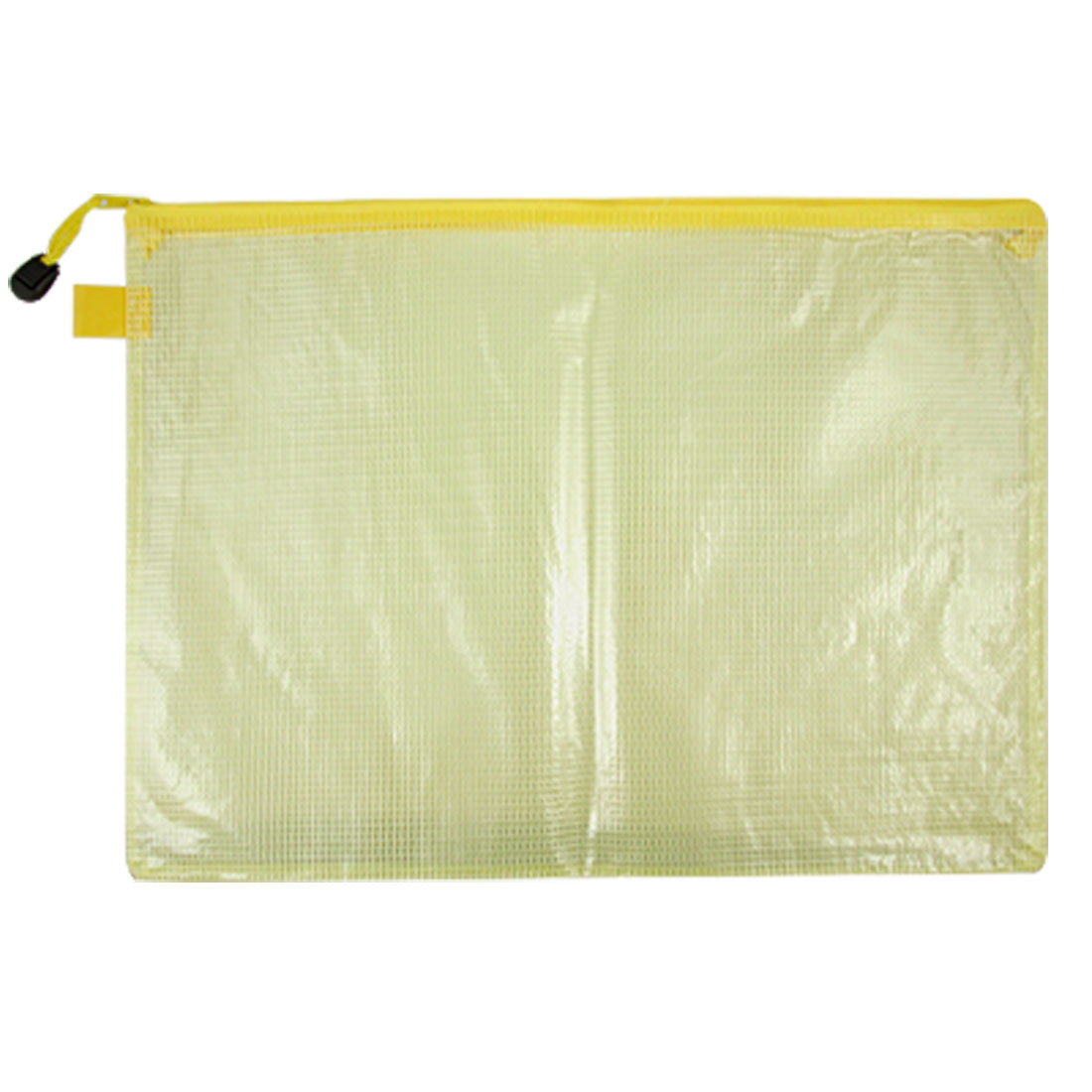 Clear Yellow B4 Size Paper Soft Plastic Zippered Closure Files Bag