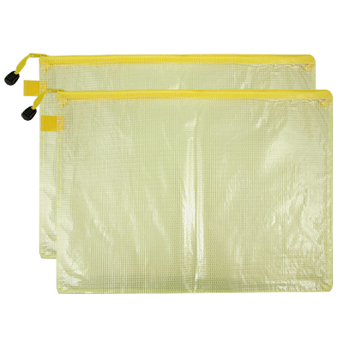 Clear Yellow 2 Pcs A4 Size Paper Soft Plastic Document Files Bag