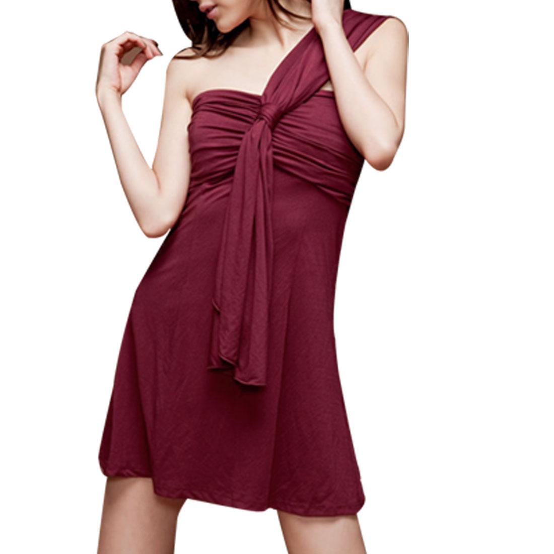 Ladies Ruched Front Smocked Back Burgundy One Shoulder Dress XS