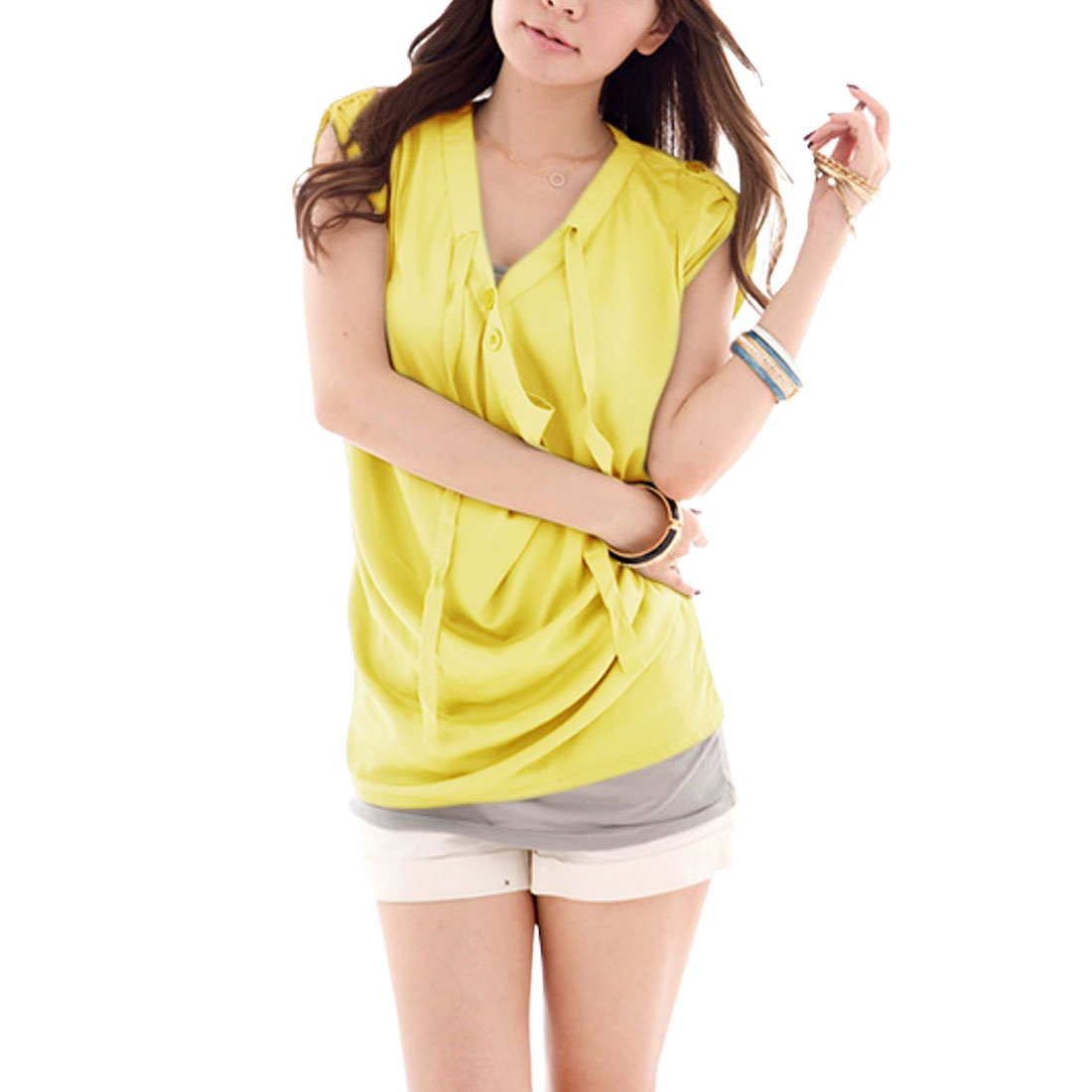 Ladies Yellow Button Roll Up Cap Sleeves Top Blouse XS