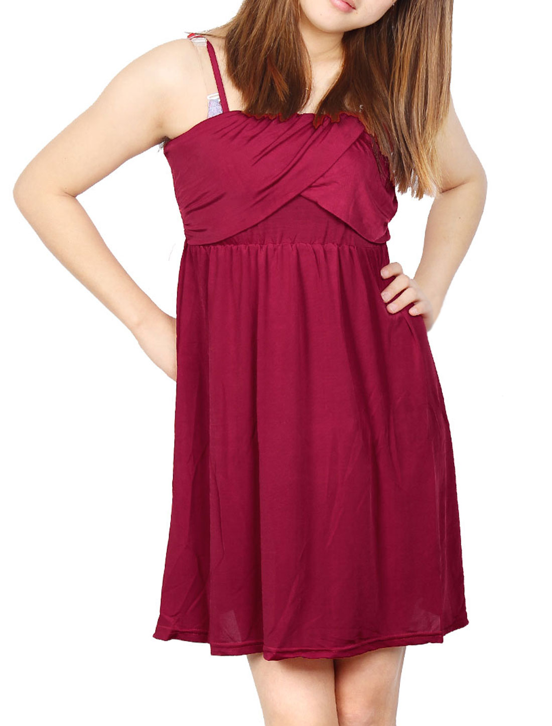 Dark Red Front Cross Ruched Smooth Adjustable Slip Dress XS