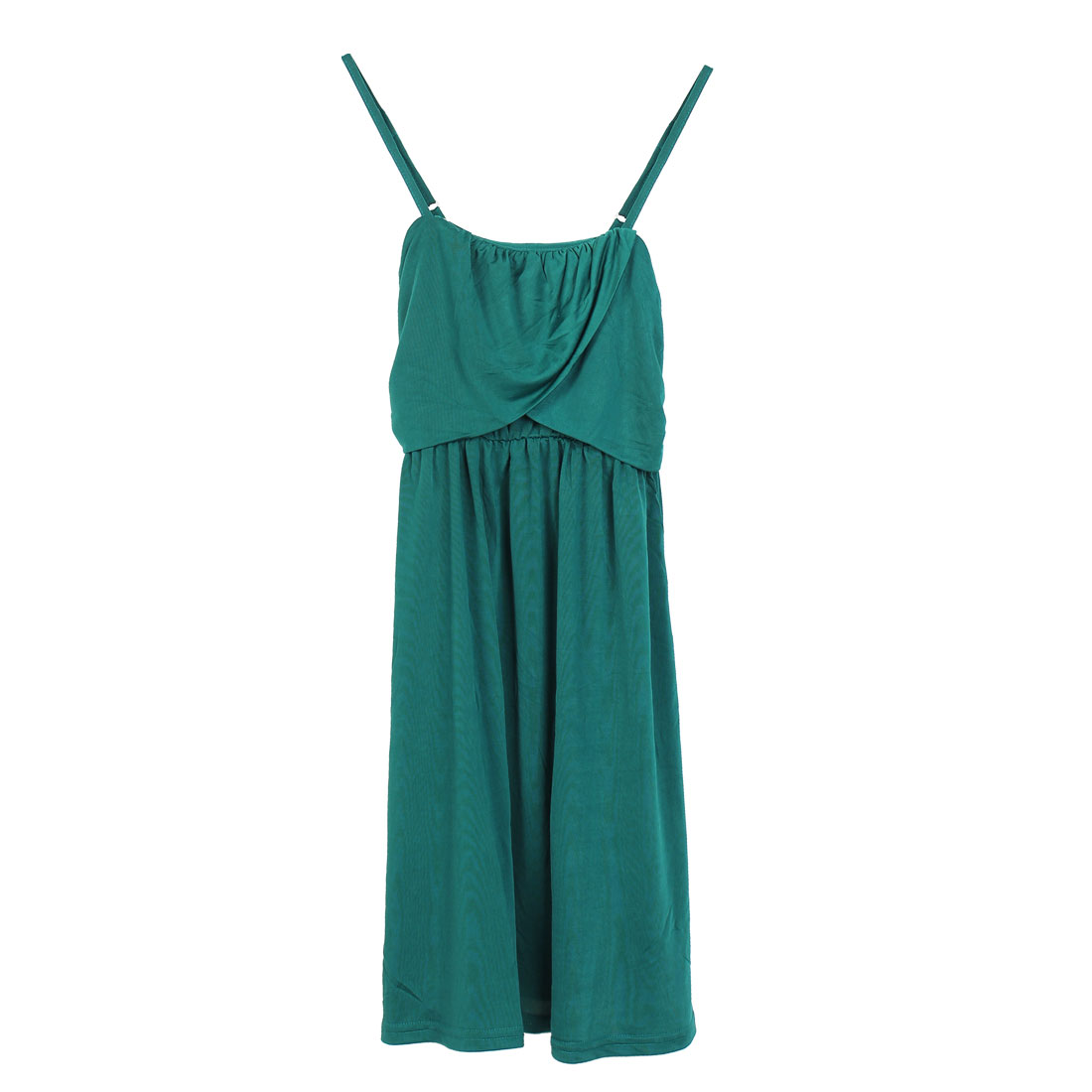 Ladies Green Front Cross Ruched Smooth Slip Skirt Dress XS