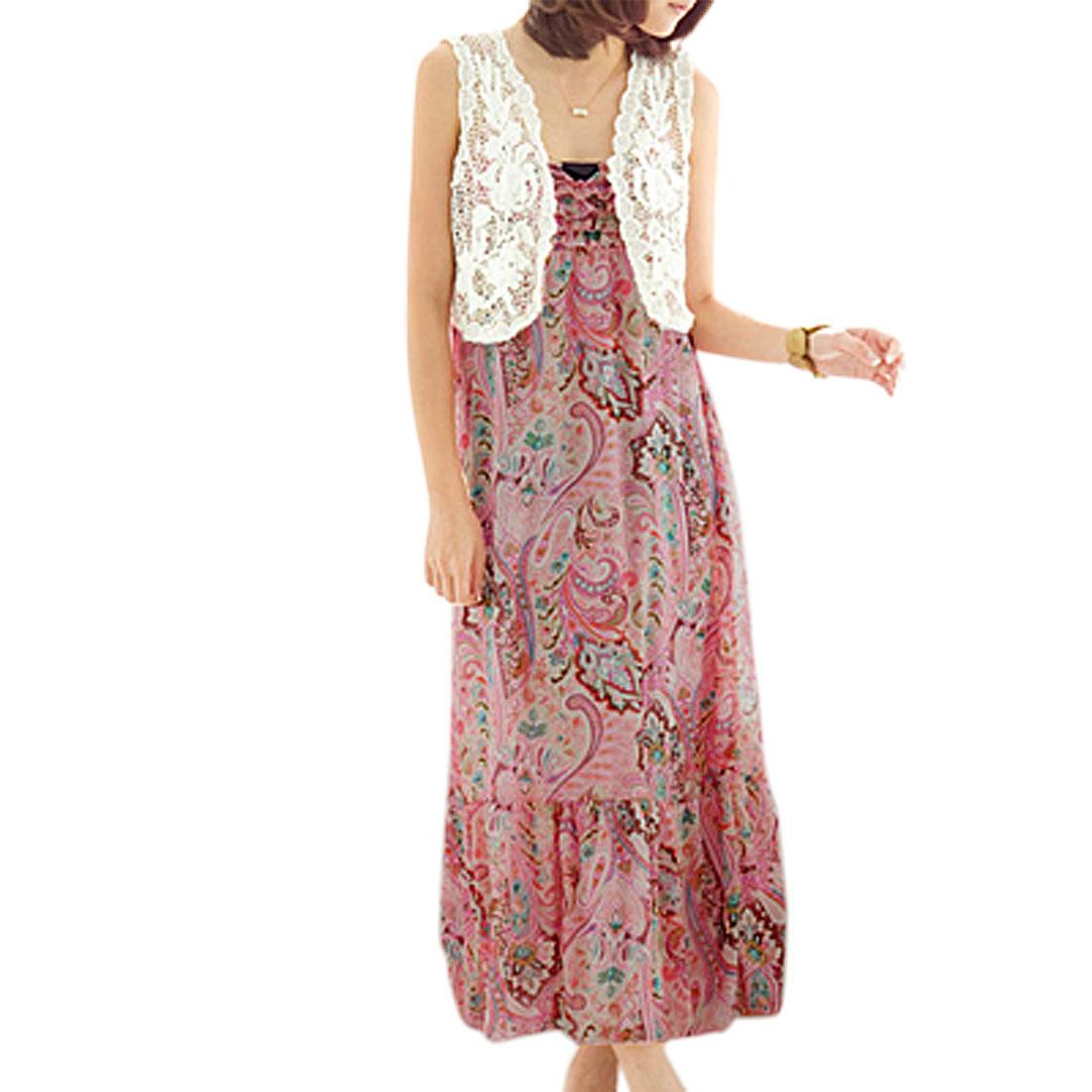 Flower Ruched Crossover V Neck Chiffon Slip Dress for Ladies XS