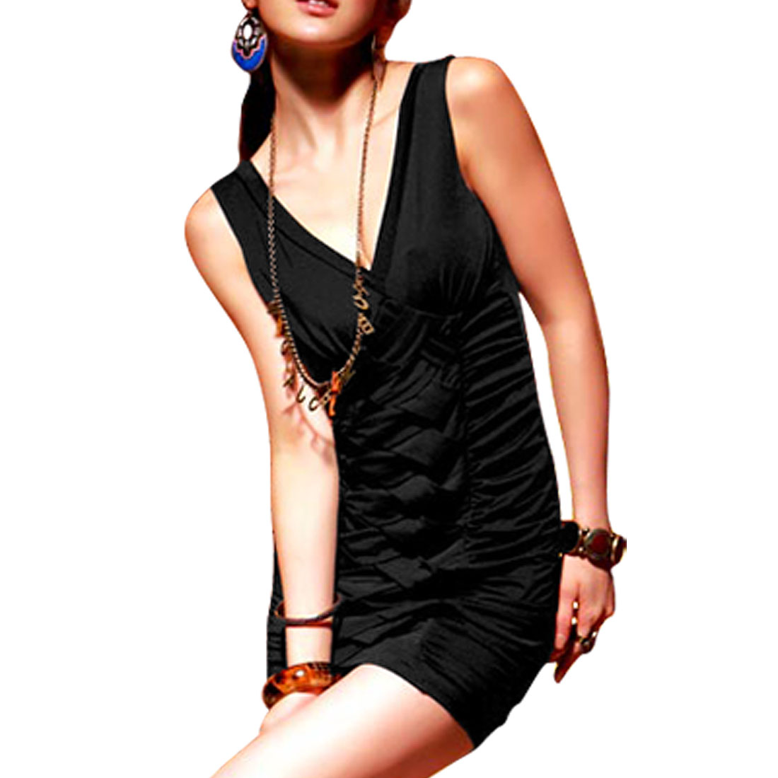 Ladies Black Sleeveless Deep V Neck Peated Mini Dress XS