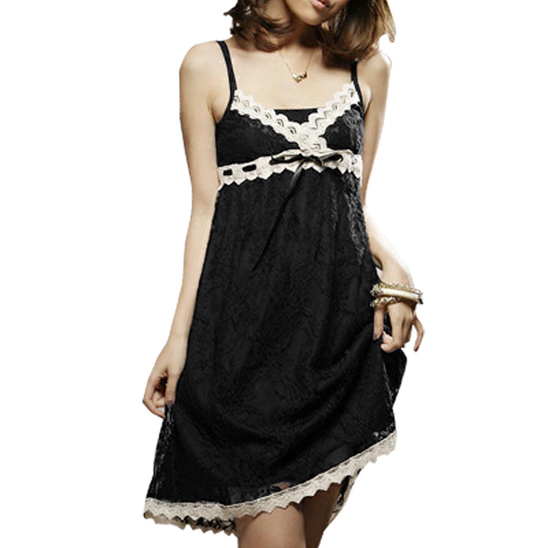 Black Crossover V Neck Mesh Weave Adjustable Straps Size XS Slip Dress for Lady