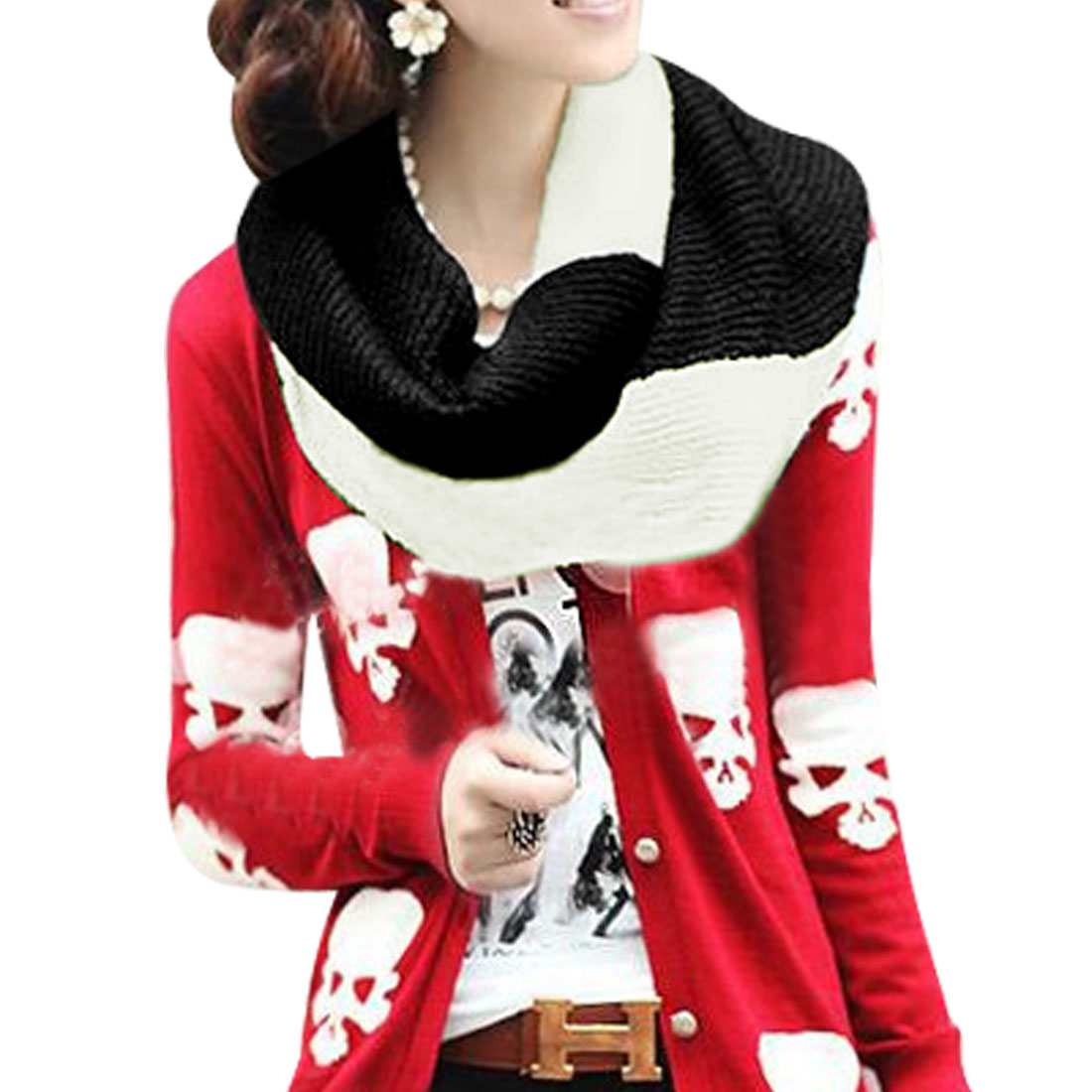 Ladies White Black Neck Warmer Rib-Knit Tube Scarf Shawl