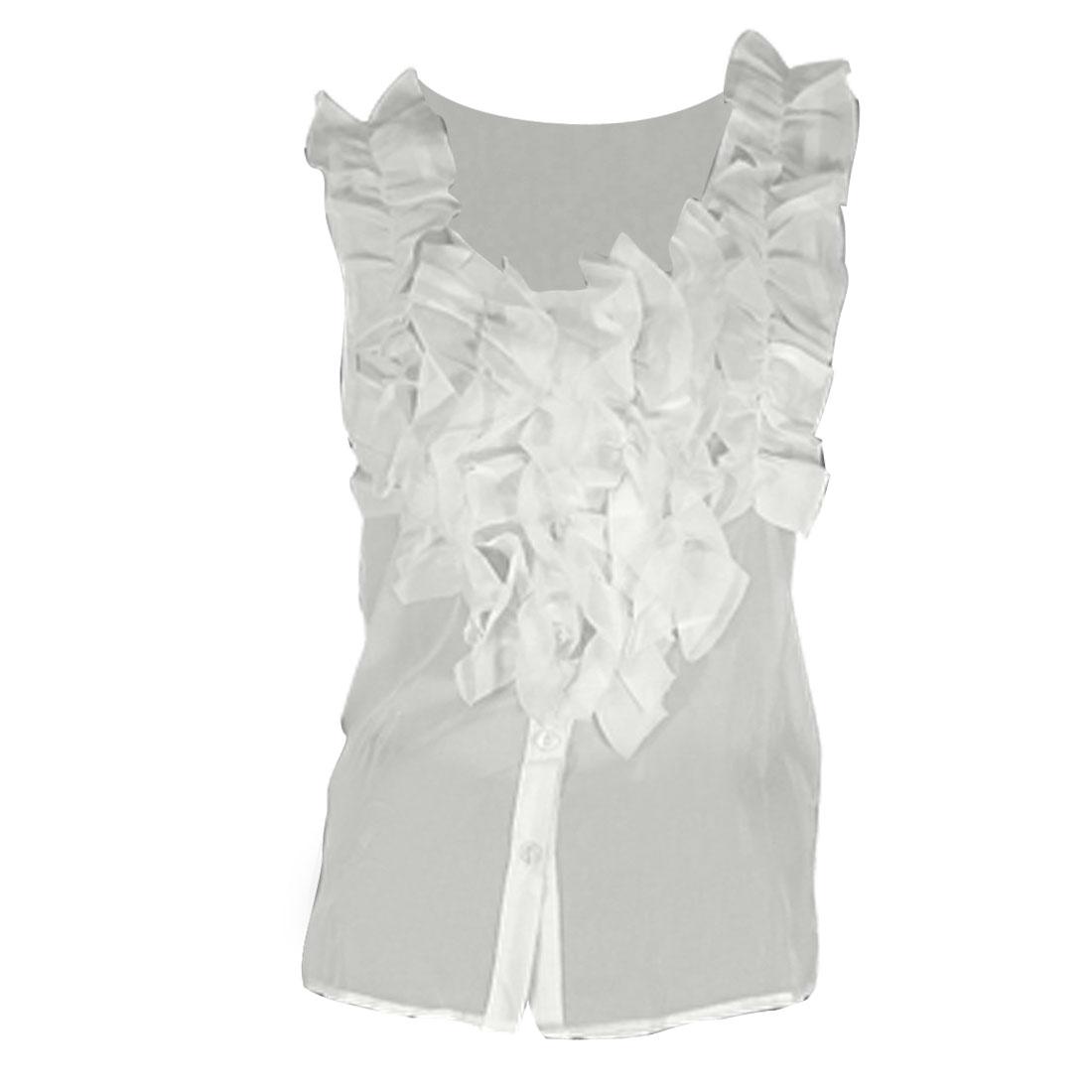 White Scoop Neckline Sleeveless w Ruffle Decoration Ladies Blouse XS