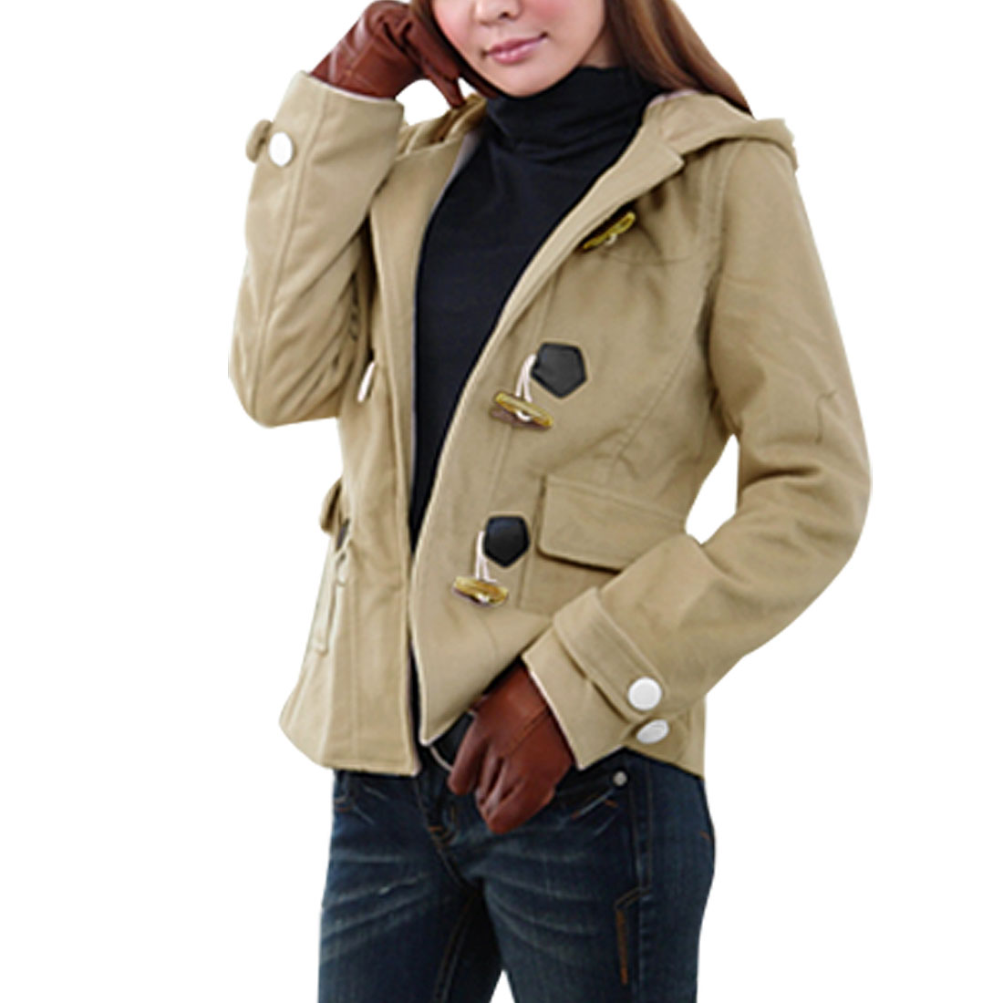 Ladies Long Sleeve Toggle Button Patch Pocket Hooded Jacket Beige Coat XS
