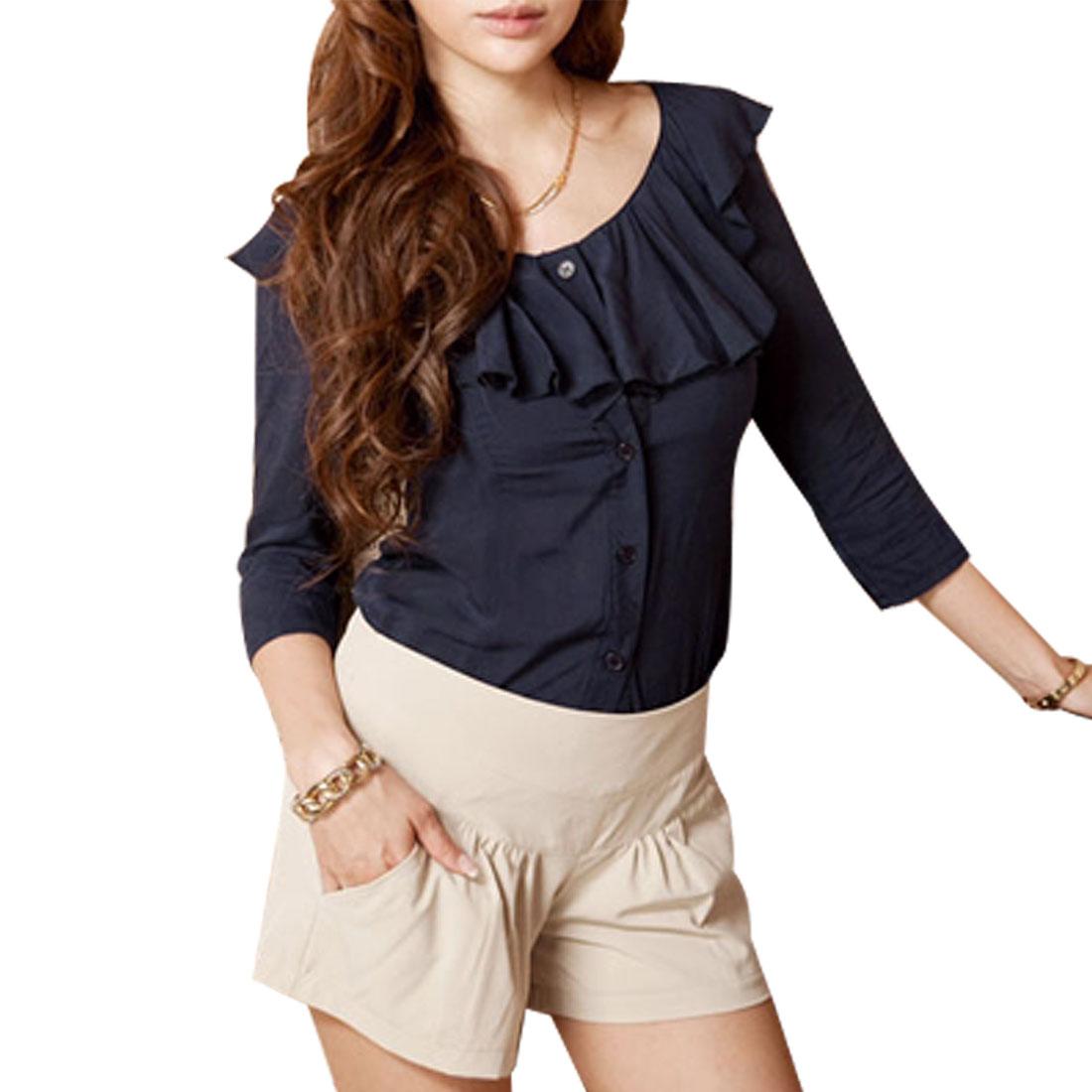 5267 Ladies Dark Blue Ruffled Collar Bracelet Sleeve Single Breasted Shirt Sz XS