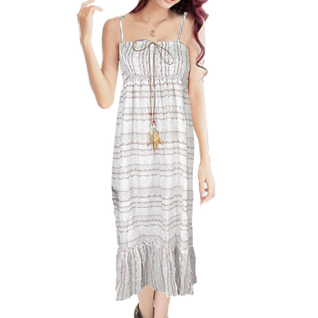 Bohemia Style Elastic Bust Floral Self Tie Spaghetti Maxi Dress XS
