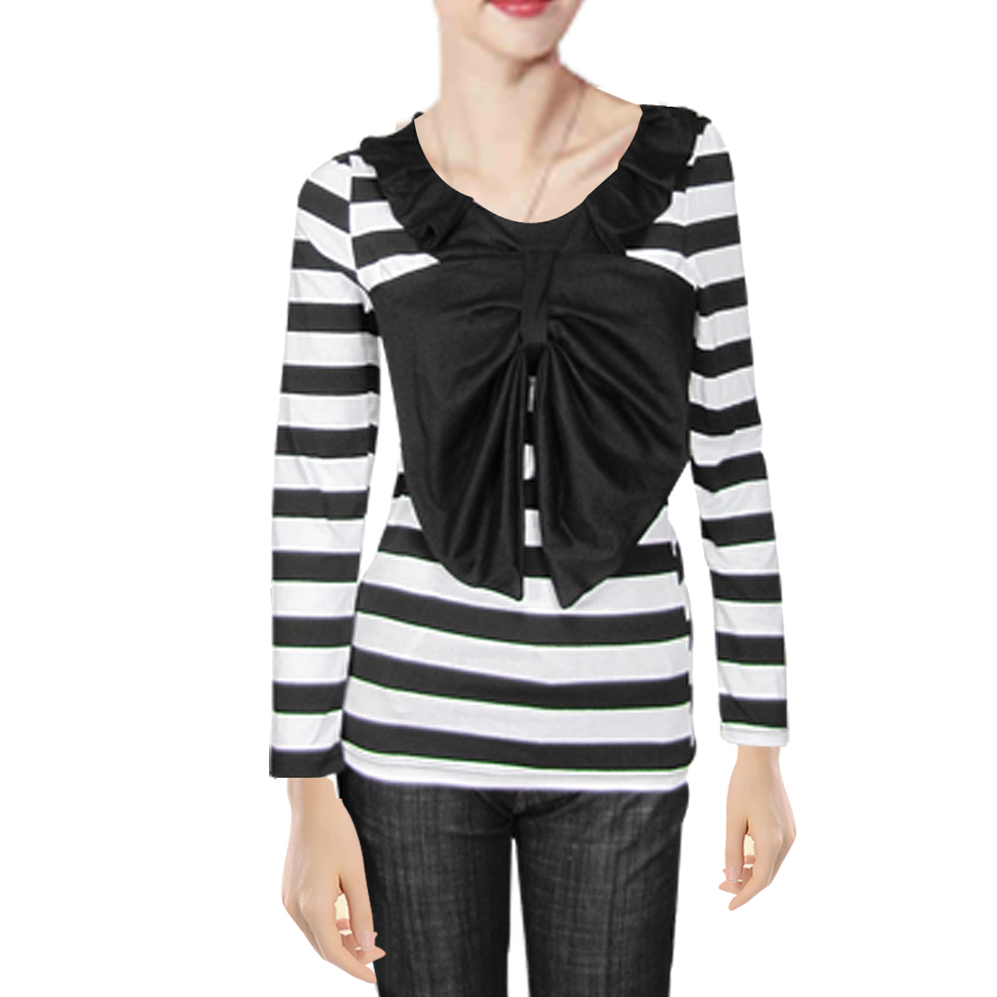 Ladies Black White Striped Bowknot Scoop Neck Autumn Shirt