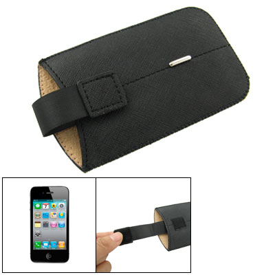 Black Faux Leather Pull Tab Style Pouch for iPhone 4 4G