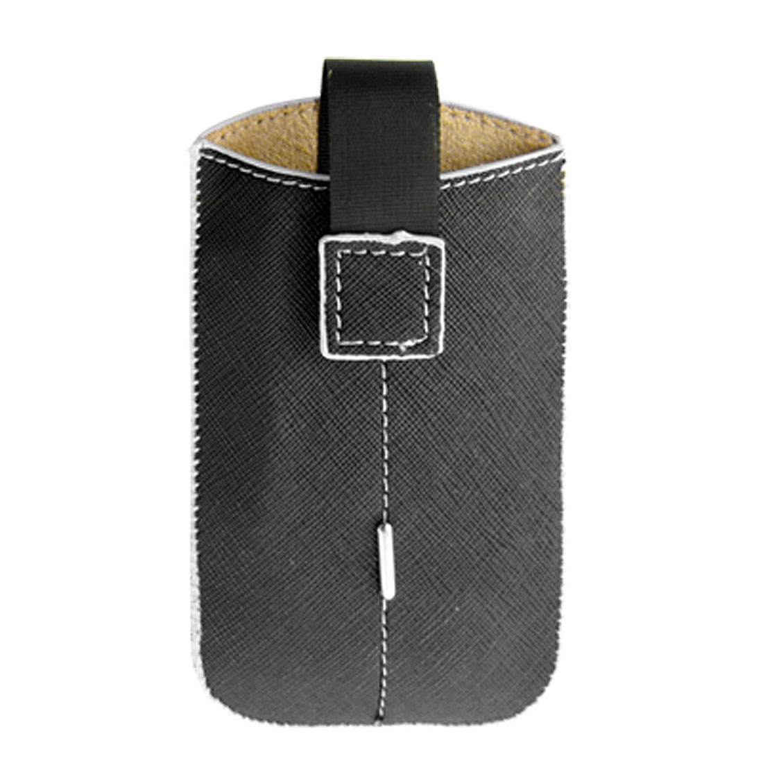 Black Faux Leather Pull Tab Pouch Holder Case for iPhone 4 4G