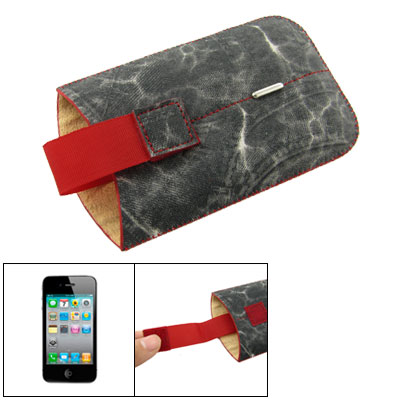 Charcoal Gray Cowboy Style Faux Leather Pouch for iPhone 4 4G